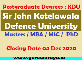 Postgraduate Degrees : KDU