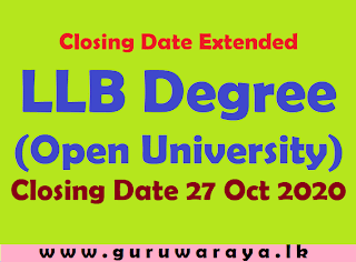 Closing Date Extended : LLB (Open University)