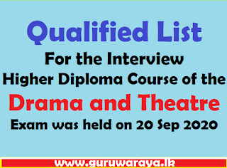 Qualified List : Higher Diploma Course of the Drama and Theatre
