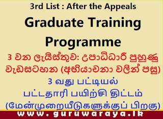3rd List : Graduate Training Programme (After the Appeals)
