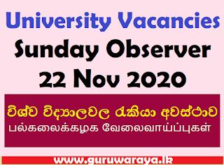 University Vacancies (Sunday Observer 22 Nov 2020)