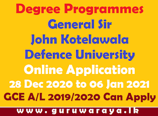 Degree Programmes  : General Sir John Kotelawala Defence University
