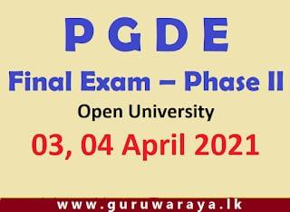 PGDE Final Exam – Phase II Open University