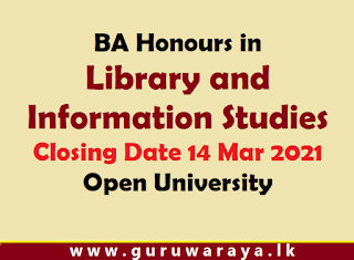 BA Honlours in Library and Information Studies