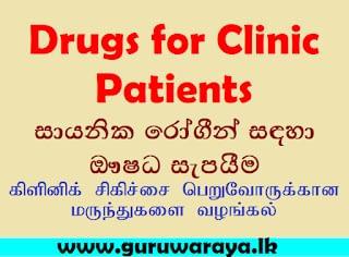 Medicines for Clinic Patients ( Via Post)