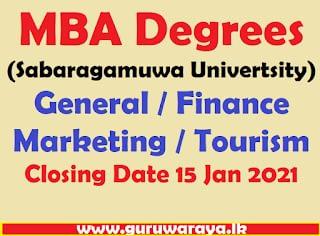MBA Degrees (Sabaragamuwa Univertsity)