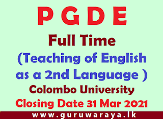PGDE (Teaching of English as a Second Language ) : Colombo University