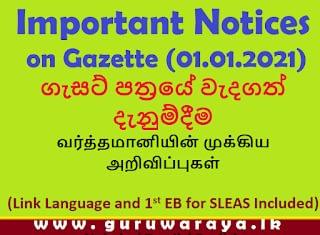Important Updates on Gazette (01.01.2021)