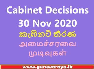 Cabinet Decisions  30 Nov 2020
