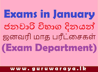 Exams in January 2021 (Exam Department)