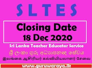 SLTES Closing Date Dec 18
