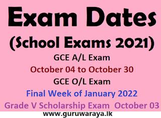 Exam Dates (School Exams 2021)