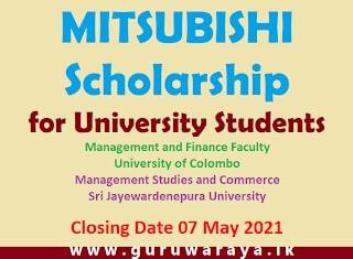 MITSUBISHI Scholarship for University Students