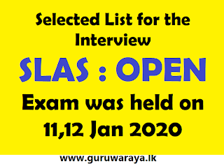 Selected List for the Interview SLAS : OPEN