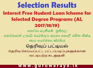 Selected List : Interest Free Loan Scheme for Degree Programme
