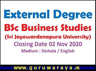 External Degree : BSc Business Studies (Sri Jayewardenapura University)