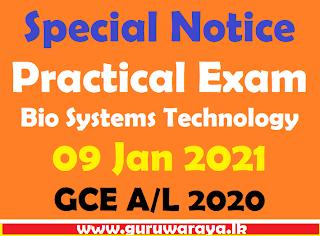 Practical Exam (BST ) GCE A/L 2020