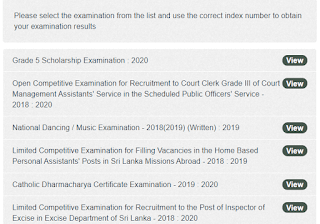 Results Released : Grade V Scholarship Exam 2020