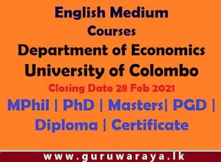 Courses : Economics (University of Colombo)