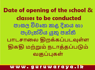 Date of opening of the school &  classes to be conducted