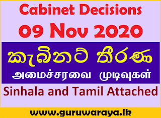 Cabinet Decisions : 09 Nov 2020