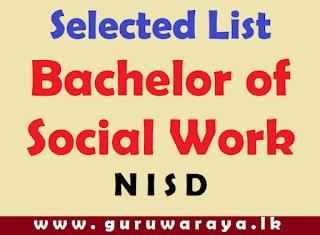 Selected List : Bachelor of  Social Work (N I S D)