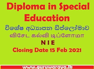 Diploma in Special Education : NIE