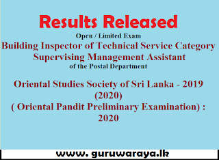 Results Released : (Building Inspector , Postal Department & Oriental Pandit)