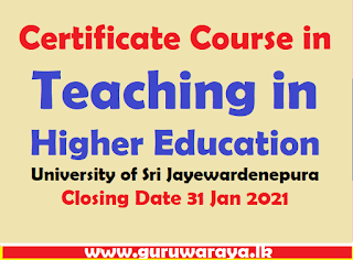 Certificate Course in Teaching in Higher Education