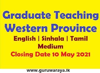 Graduate Teaching : Western Province