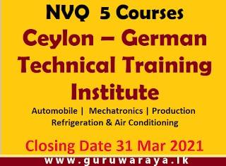 NVQ  5 Courses (Ceylon - German, Technical Training Institute)