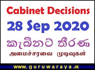 Cabinet Decisions :   28 Sep 2020